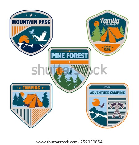 Vector vintage set of camping badges and logotype emblems for your design