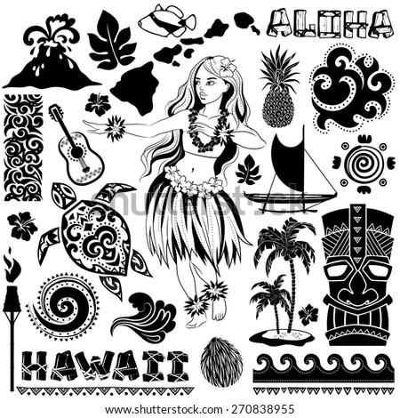 vector vintage set of hawaiian