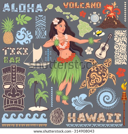 vector vintage set of hawaiian