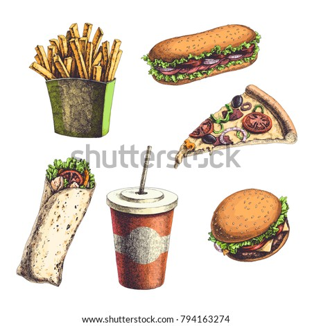Vector vintage set with engraved fast food illustrations. Color hand drawn burger, sandwich, wrap, french fries, pizza slice and drink isolated on white background.