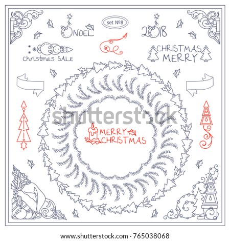Vector vintage signs, symbols, corners, tiny arts for design. Elements for frames, borders, squares, dividers. Christmas, Holidays, winter fairytales theme. Different in each set 8 from 9