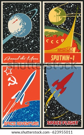 vector vintage space posters