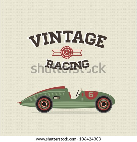 Vector vintage sport racing car