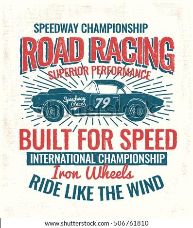 vector vintage sport racing car ...