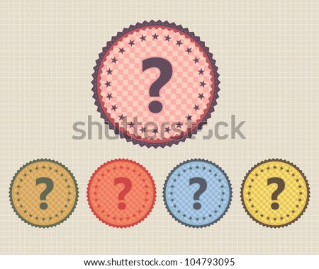 Vector Vintage Sticker Question Mark Icon/Button and multicolored