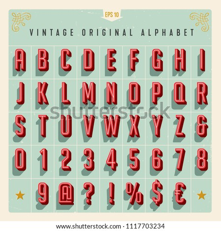 Vector Vintage Style Alphabet with offset effect, useful for retro packaging design, posters, greeting cards, brochures, flyers and much more.