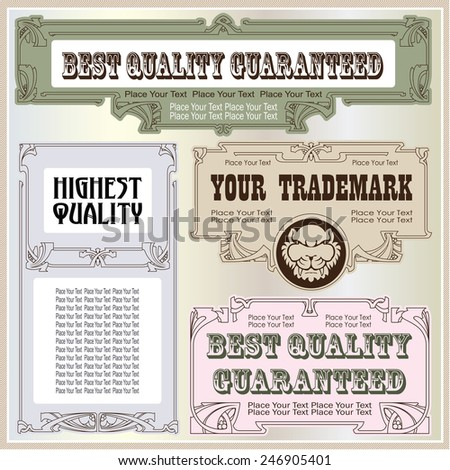 Vector vintage style labels and tags on different versions for decoration and design