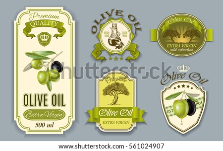Vector vintage style olive oil labels set. Elegant design for olive oil packaging. Only free fonts used. Font names included in the layers