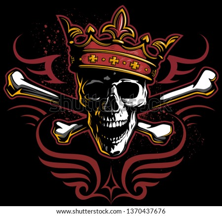 Vector vintage style skull in the dark, with king crown, crossbones and tribal ornament, isolated on black background.