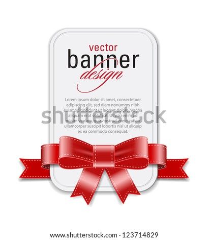 Vector vintage style white retro banner decorated with red satin ribbon and bow