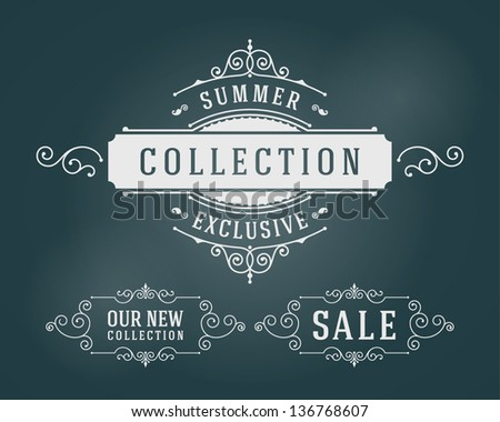 Vector vintage summer sale sign set and antique frames