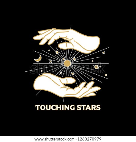 Vector vintage t-shirt, poster design. Mystical celestial illustration with hands, stars, planets and moon.
