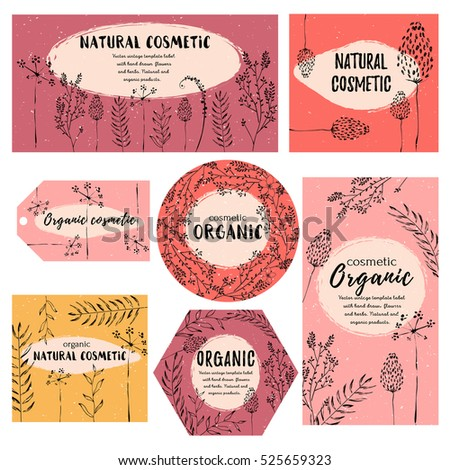 Vector vintage template label with hand-draw  flowers and herbs. Layout, mockup design for cosmetics shop,  beauty salon, natural and organic products. Organic, natural plants sketch background.