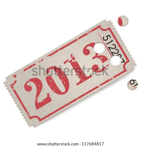 Vector vintage ticket - year 2013