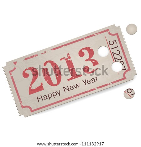 Vector vintage ticket - year 2013 - happy new year