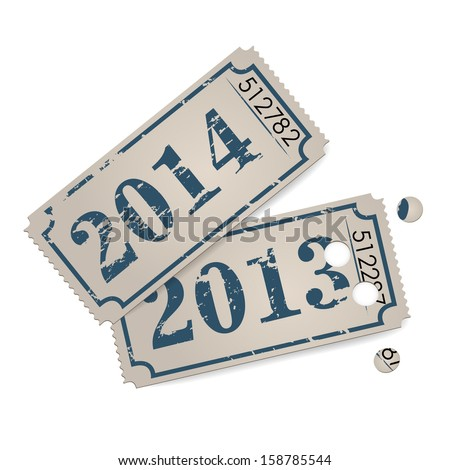 Vector vintage tickets - new year 2014