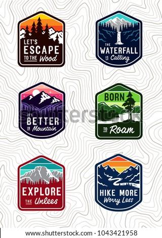 vector vintage travel patch set