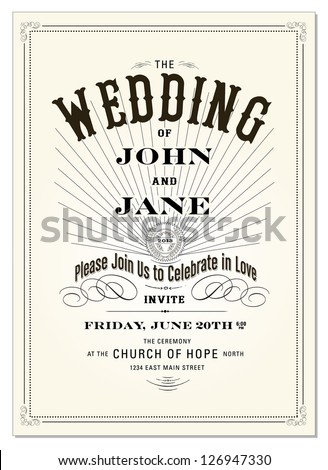 Vector Vintage Type Frame. Easy to edit. Great for invitations or announcements.