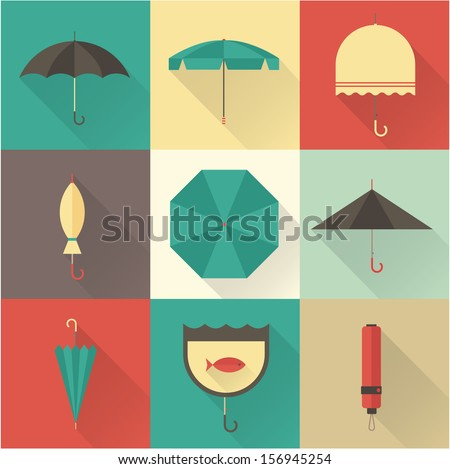 Vector vintage umbrellas