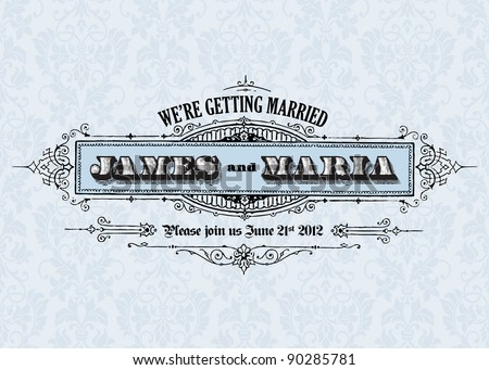 Vector Vintage Wedding Announcement. Easy to edit. Perfect for invitations or cards.