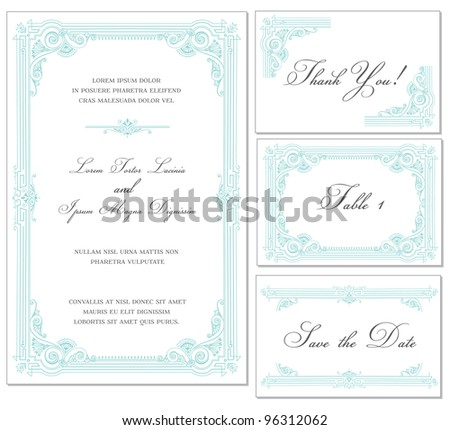Vector Vintage Wedding Frame Set - for invitations or announcements