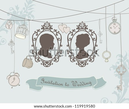 Vector Vintage  Wedding Invitation Card. Retro silhouettes - stock vector