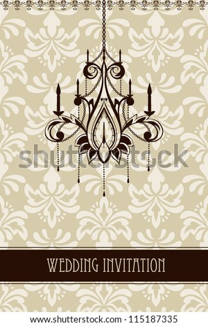 vector vintage wedding invitation with seamless floral ornament and chandelier,fully editable file,  seamless pattern in swatch menu, standart AI font