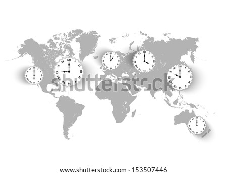 Vector vintage world Map background with clocks