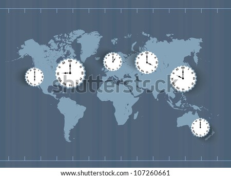Vector vintage world Map with time zones