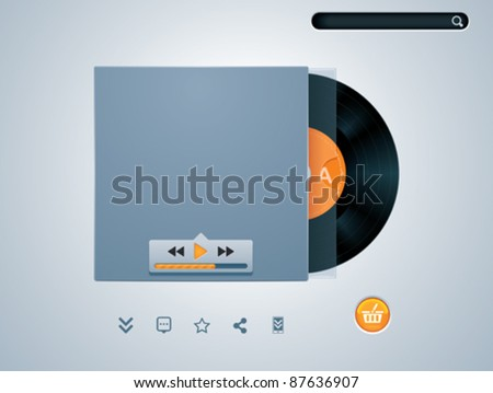 Vector vinyl disk in envelope music player template