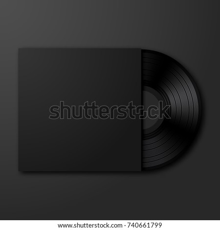 vector vinyl record on black