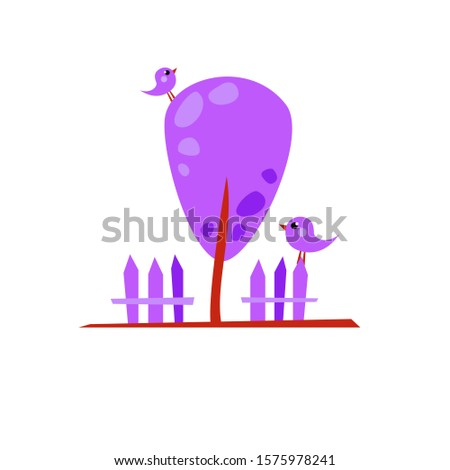 vector violet cartoon tree with
