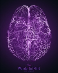 Vector violet illustration of 3d brain top with synapses and glowing neurons. Conceptual image of idea birth or artificial intelligence. Net of shiny lines forms brain structure. Futuristic mind scan.
