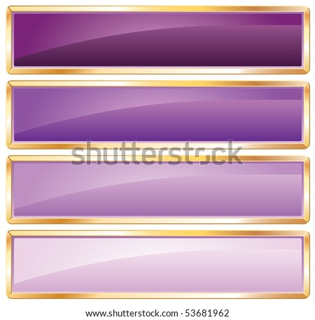 vector violet long buttons with golden frame