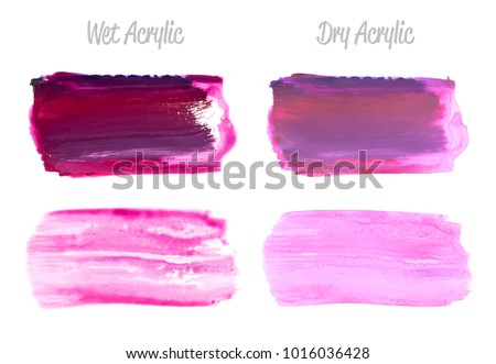 vector violet paint smear stroke stain set abstract wet and dry