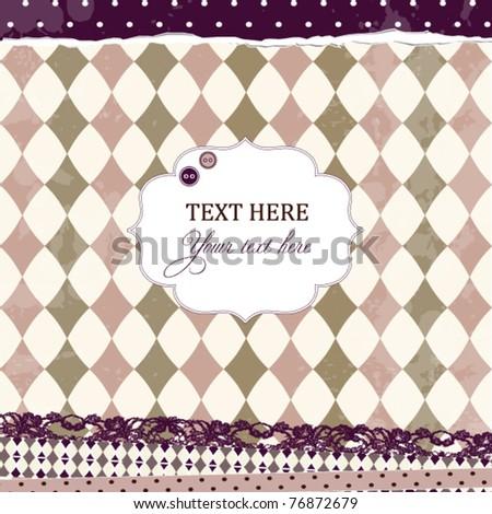 Vector violet vintage scrap card with rhombuses - stock vector