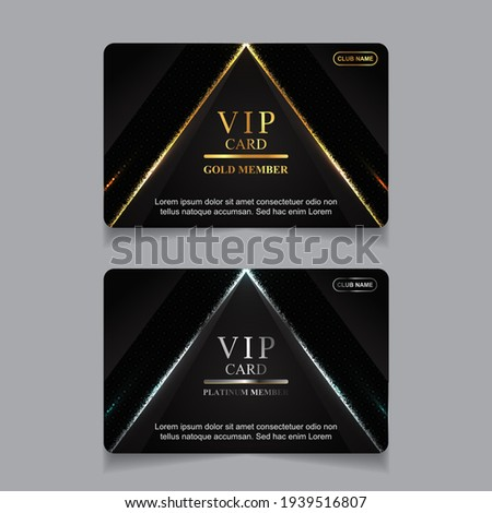 Vector VIP golden and platinum card. Black geometric pattern background with premium design. Luxury and elegant graphic template layout for vip member Stock photo ©