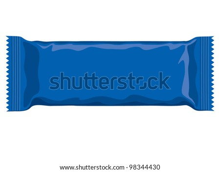 Vector visual of blue flow wrap plastic foil packet, packaging or wrapper for biscuit, wafer, crackers, sweets, chocolate bar, candy bar, snacks etc - stock vector