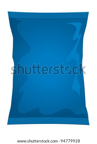 Vector visual of blue foil / plastic / paper bag / packet / packaging for cheese & onion or salt & vinegar flavour potato crisps / potato chips or chocolate / candy / sweets