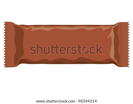Vector visual of brown flow wrap plastic foil packet, packaging or wrapper for biscuit, wafer, crackers, sweets, chocolate bar, candy bar, snacks etc