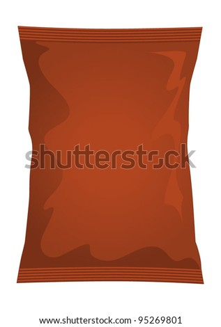 Vector visual of brown foil / plastic / paper bag / packet / packaging for beef, chicken or meat flavour potato crisps / potato chips or chocolate / candy / sweets