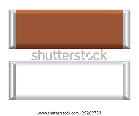Vector visual of Chocolate bar / Candy bar in foil with brown or white paper wrapper / packaging