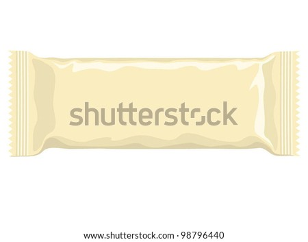 Vector visual of cream milk yellow flow wrap plastic packet for biscuit, wafer, crackers, sweets, chocolate, candy, cereal bar, snacks etc