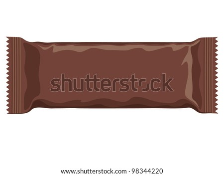 Vector visual of dark brown flow wrap plastic foil packet, packaging or wrapper for biscuit, wafer, crackers, sweets, chocolate bar, candy bar, snacks etc