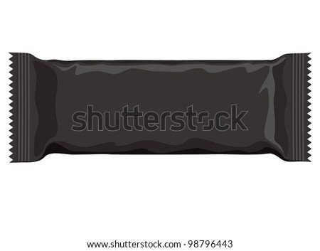 Vector visual of dark premium black wrap plastic packet for biscuit, wafer, crackers, sweets, chocolate, candy, cereal bar, snacks etc