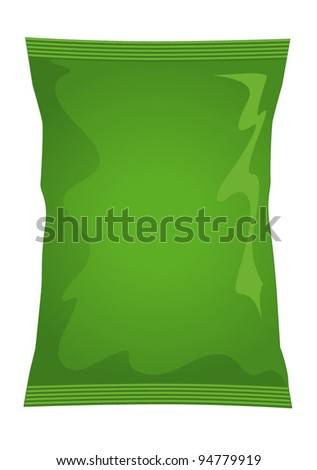 Vector visual of green foil / plastic / paper bag / packet / packaging for salt & vinegar or cheese & onion flavour potato crisps / potato chips or chocolate / candy / sweets