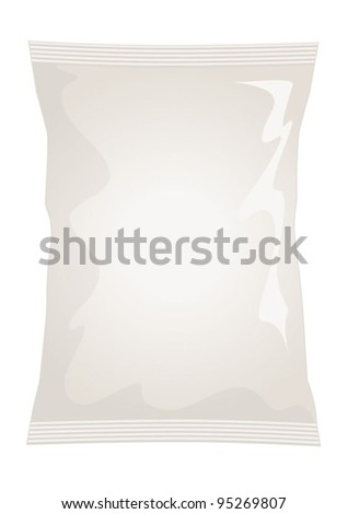 Vector visual of white / cream foil / plastic / paper bag / packet / packaging for natural, ready salted flavour potato crisps / potato chips or chocolate / candy / sweets