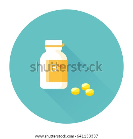 vector vitamin B complex, plastic bottle and pills / sign and icon template, isolated on white