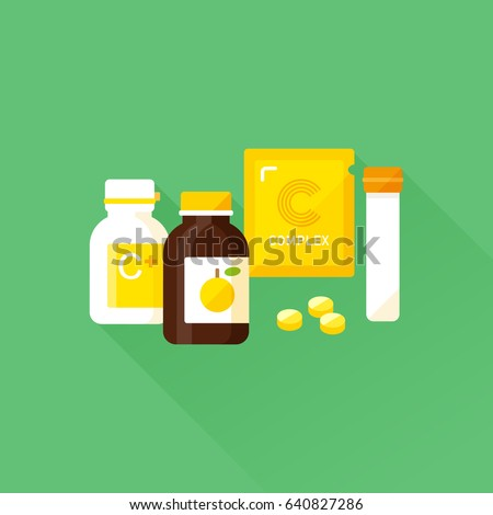 vector vitamin C product collection / glass, plastic bottle and pills / zipper bag