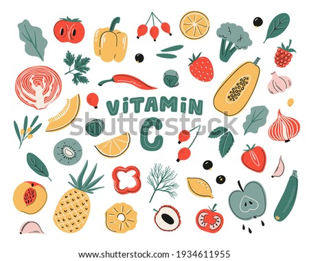 Vector vitamin C sources set. Fruits, vegetables and berries collection. Healfy food, dietetics products, organic. Cartoon flat illustration